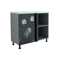 Грация шкаф угловой 1000 мм с дверью, цветы