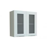 Грация навесной шкаф  -витрина 600 мм , белый металлик