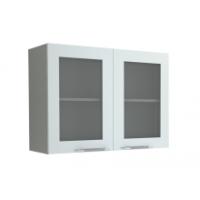 Грация  навесной шкаф 800 мм с дверями и стеклом, белый металлик