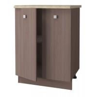 Дели Напольный шкаф 600 мм  с двумя дверьми , ясень шимо темный