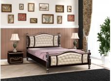 """Кровать """"Жасмин"""" орех темный с элементами кожи"""