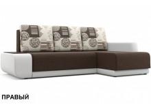 """Угловой диван """"Соло"""" белый / коричневый"""