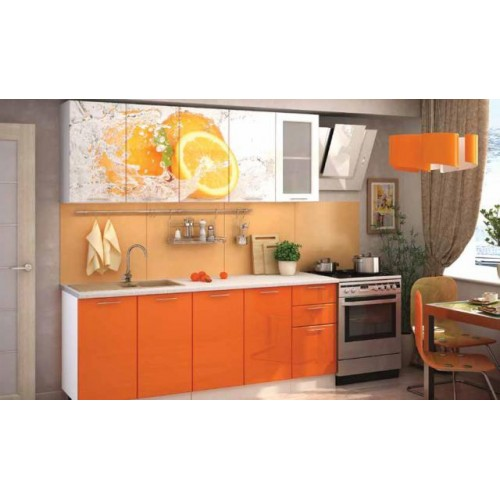Кухня с фотопечатью «Апельсин» 2м.