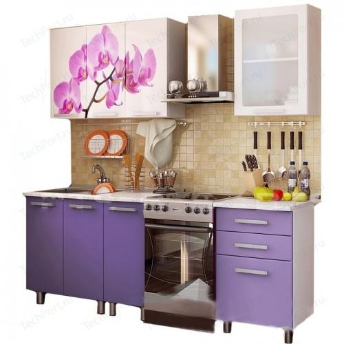 Кухонный гарнитур с фотопечатью «Орхидея» 1,6 м