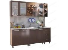 Кухонный гарнитур с фотопечатью «Шоколад» 2,0 м Люкс