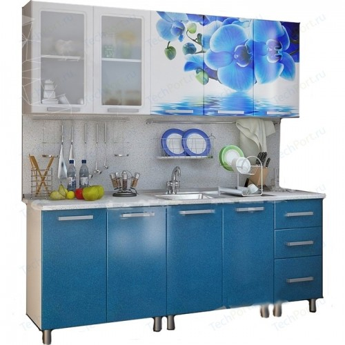 Кухонный гарнитур с фотопечатью «Лазурь» 2,0 м Люкс