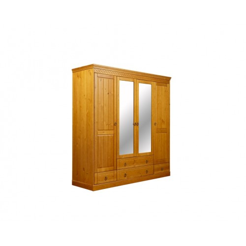 Шкаф  из массива сосны 4-ств комбинированный Дания, WoodStock
